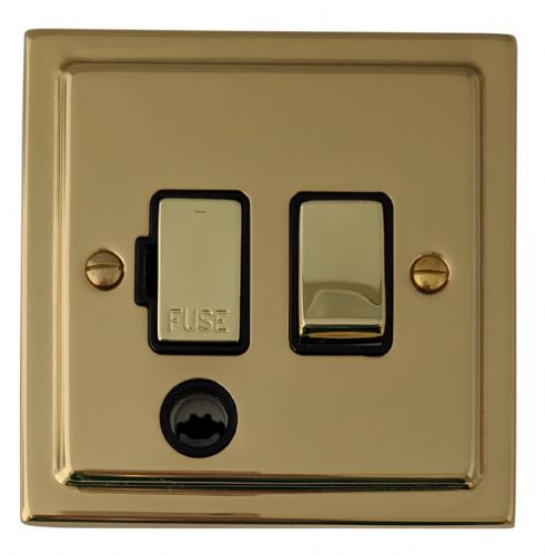 G&H TB356 Trimline Plate Polished Brass 1 Gang Fused Spur 13A Switched & Flex Outlet